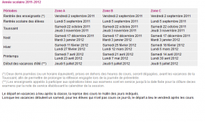 Calendrier scolaire des années 2011-2012