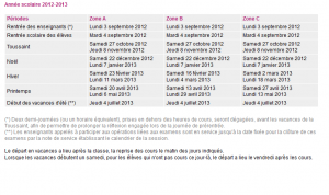 Calendrier scolaire des années 2012-2013