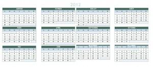 Calendrier 2012 à imprimer image et pdf