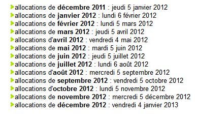 Calendrier de paiement caf 2012