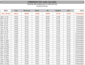 Calendrier Ramadan 2012 à télécharger